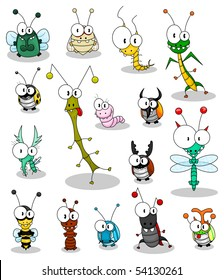 Set of funny cartoon insects isolated on white