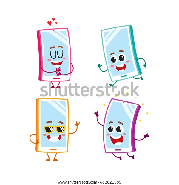 Set Funny Cartoon Mobile Phone Smartphone Stock Vector Royalty Free 662821585