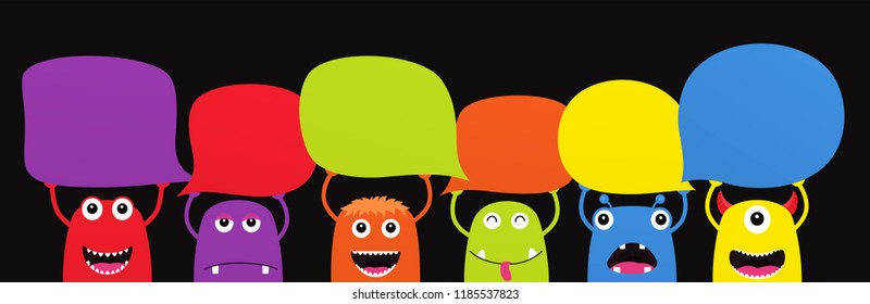 Set of funny cartoon monsters with dialogue speech bubbles. Characters Halloween on black background.