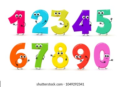 Set of funny cartoon numbers and mathematical operation signs. Vector illustration. Isolated on white background