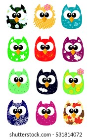 Set of funny cartoon owls, game style to decorate greeting cards, games, apartments, or textiles