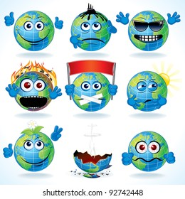 Set of Funny Cartoon Planet Earth with Various Emotions