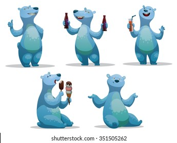 Set of funny cartoon polar bear.  One stands. Two drinking soft cold drinks. One sits and eating an ice-cream. one just sits. vector illustrations