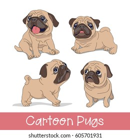 Set of the Funny cartoon pugs puppies. Vector illustration.