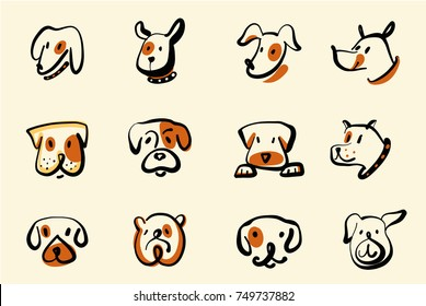 Set of funny cartoon puppy vector illustration for concept template logo for pet shop, veterinary clinic. Freehand drawing image face dog isolated on white background.