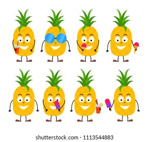 Set of funny cartoon summer pineapple character