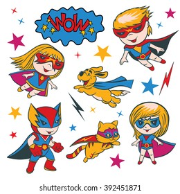 Set of funny cartoon superhero character and elements.