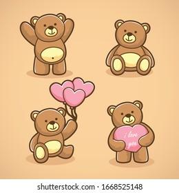 Set of funny cartoon teddy bears in love.