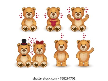 Set of funny cartoon teddy bears in love.
