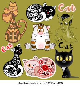 A set of funny cats in different design versions. The idea for the design  children's rooms, greeting cards, invitations, photo frames. Each object on a separate layer