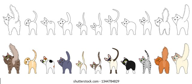Set of funny cats showing their butts