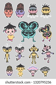 Set of funny character icons