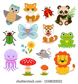 Set of funny characters: animals, birds, insects, plants.Owl, cat, ladybug, panda, beetle, butterfly, dog, frog, jellyfish, fly agaric, mushroom, lion, mouse, flower.