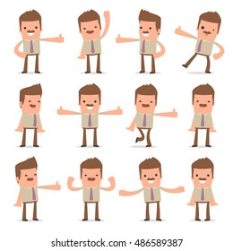 Set of Funny and Cheerful Character Bookkeeper showing thumb up as a symbol of approval for using in presentations, etc.