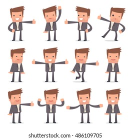 Set of Funny and Cheerful Character Competitor showing thumb up as a symbol of approval for using in presentations, etc.