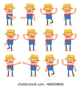 Set of Funny and Cheerful Character Farmer welcomes poses for using in presentations, etc.