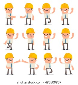 Set of Funny and Cheerful Character Foreman welcomes poses for using in presentations, etc.