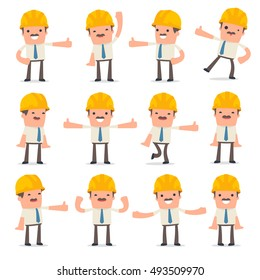 Set of Funny and Cheerful Character Foreman showing thumb up as a symbol of approval for using in presentations, etc.