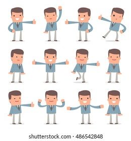 Set of Funny and Cheerful Character Graduate Student showing thumb up as a symbol of approval for using in presentations, etc.