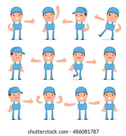 Set of Funny and Cheerful Character Repairman showing thumb up as a symbol of approval for using in presentations, etc.