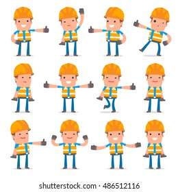 Set of Funny and Cheerful Character Constructor showing thumb up as a symbol of approval for using in presentations, etc.
