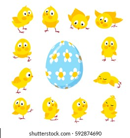 Set of funny chickens and an egg for Easter decoration, Cartoon vector flat clipart