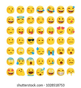 Set of funny classic emojis. Isolated Vector Illustration. Flat style
