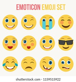 Set of funny classic emojis. Isolated Vector Illustration