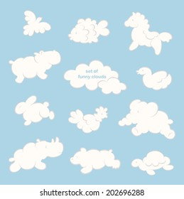 Set of funny clouds in the form of different animals on blue. Vector background.
