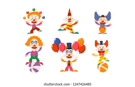 Set of funny clowns in different actions. Cartoon characters of circus artists. Flat vector for advertising poster or banner