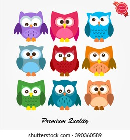 set of funny colored owls
