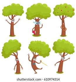 Set of funny comic tree characters showing various emotions, cartoon vector illustration on white background. Collection of funny tree characters, mascots, emoticons with human faces