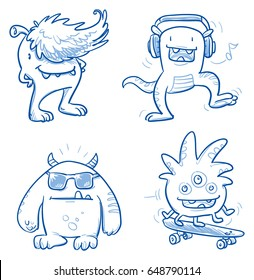 Set of funny cool monsters, aliens or fantasy animals for children coloring books or t-shirts, with sunglasses, skateboard and headphones. Hand drawn line art cartoon vector illustration.