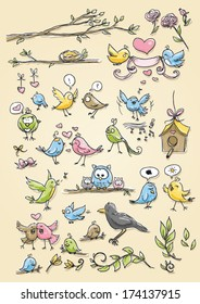 Set of funny cute birds in different emotions, happy, sad, angry, and poses icons hand drawn sketch vector illustration