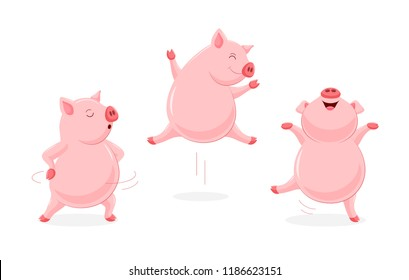Set of funny cute cartoon pig dancing. Character design. Vector illustration isolated on white background.