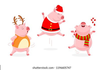 Set of funny cute cartoon pig dancing. Character design with Christmas concept costume. Vector illustration isolated on white background.