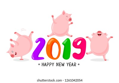 Set of funny cute cartoon pig dancing. Character design.  Happy New Year concept. Vector illustration isolated on white background.