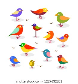Set of funny cute different colorful birds