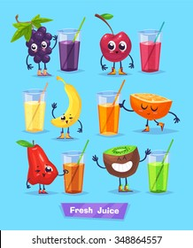 Set of funny cute fruits and fresh juice. Funny food. Vector cartoon stock illustration. Cute stylish characters.