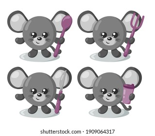 Set of funny cute kawaii mouse with round body, spoon, fork, knife and cup in flat design with shadows. Isolated animal vector illustration with cutlery