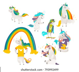 Set of funny cute unicorns doing magic, standing, running, eating donuts, vomiting rainbow, flat cartoon vector illustration isolated on white background. Big funny set of rainbow unicorn characters