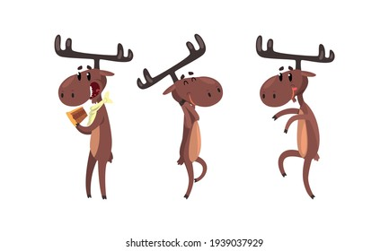 Set of Funny Deer in Action, Brown Moose Humanized Character Cartoon Vector Illustration