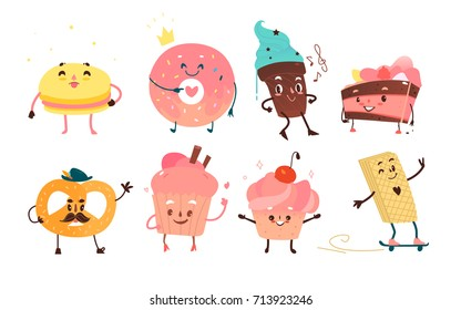 Set of funny dessert characters - donut, cupcake, cake, ice cream, pretzel, macaroon, cartoon flat style vector illustration isolated on white background. Dessert characters with smiling human faces