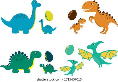 Set of funny dinosaurs for print. Adult, baby, egg. Vector template for design T-shirts. Fashion graphic for apparel. Character image dino for children's magazines and preschool institutions. Dinosaur