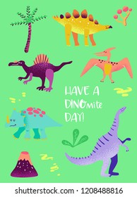 Set of Funny Dinosaurus for Poster Print, Baby Greetings Illustration, Dino Invitation, Children Dinosaur Store Flyer, Brochure, Book Cover in vector
