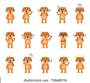 Set of funny dog characters showing different emotions. Cheerful dog laughing, crying, dazed, sleeping and showing other facial expressions. Flat style vector illustration