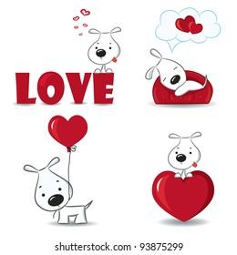 一组有趣的狗与心脏。矢量插图。