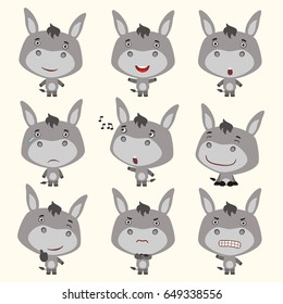 Set funny donkey in different poses in cartoon style.