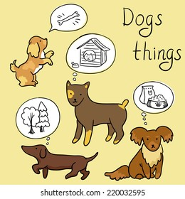 Set of funny doodle cartoon dogs - dogs things (vector)