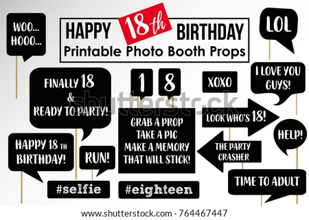 Set Funny Eighteenth Birthday Party Photobooth Stock Vector Royalty